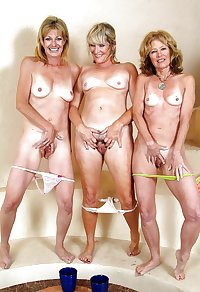 Three grannies naked showing asses