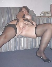 Vintage older Lady in black Stockings and great saggy Tits