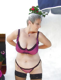 grey hair, granny  with her nice purple underwear