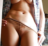 Pretty older lady shows her gusset