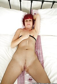48 year old British milf Penny in fishnet pantyhose