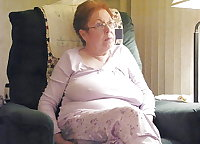 granny watching TV with nipples  sticking out ( non nude )